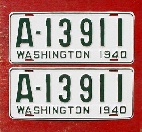 1940 Washington Nice Restored PAIR  A-13911 King Co. License Plates