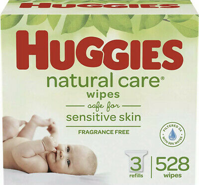 Huggies Natural Care Wipes For Baby 3 Refill Pack 528 Sheets Unscented Sensitive