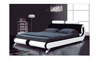 Modern İtalian Designer KİNGSİZE Leather Bed (Black and White) with Mattress
