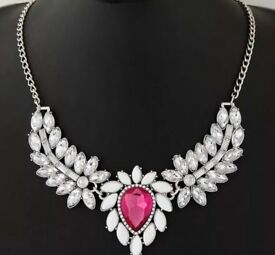 Angel wing statement necklace