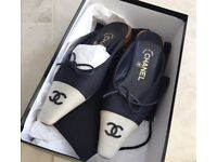 Navy and Beige Authentic Chanel Flats UK 3.5 Selling for 400