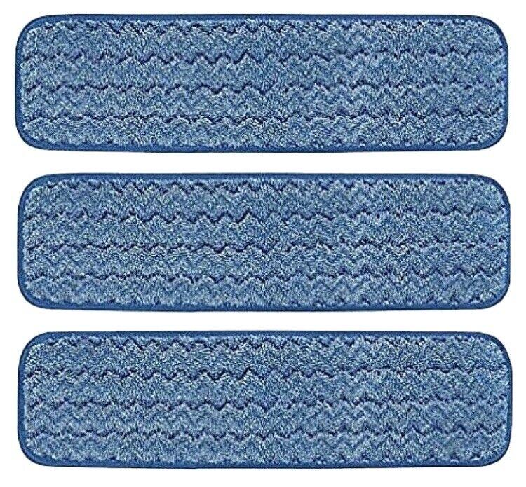 "Pack of 3 Rubbermaid Hygen Microfiber 18"" Damp Room Mop Pads Q410 Blue Color"