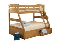 Joseph Triple Bed, Three Sleeper Maple Bunk Bed With Drawers