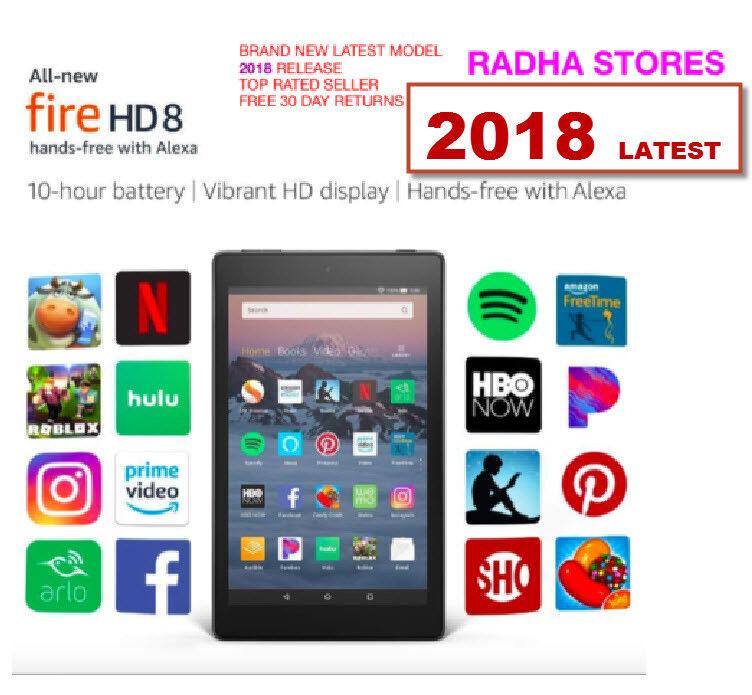 Amazon Kindle Fire HD 8 8th gen tablet 2018 Alexa 16 GB Blac