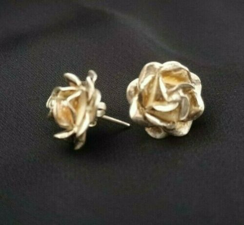 """Vintage Sterling Silver 0.6"""" Rose Flower Earrings Taxco Mexico 925 silver 6.5g"""