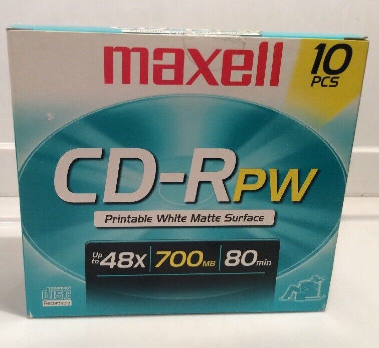 MAXELL Printable White Matte Surface CD-RPW Media - 10 pcs