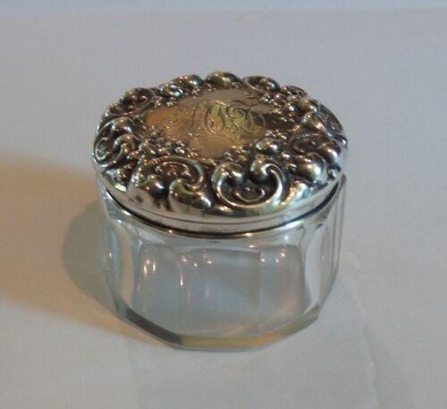 Cut Crystal Dresser/Toiletries Jar, Sterling Silver Lid #1
