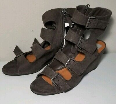 Dolce Vita Womens Brown Suede LeeAnn Buckle Wedge Gladiator Sandals Shoes 8 New