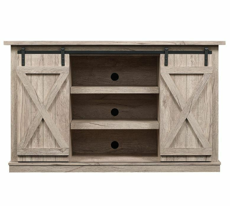"""Rustic TV Stand Console Up To 60"""" Barn Door Wood Farmhouse E"""