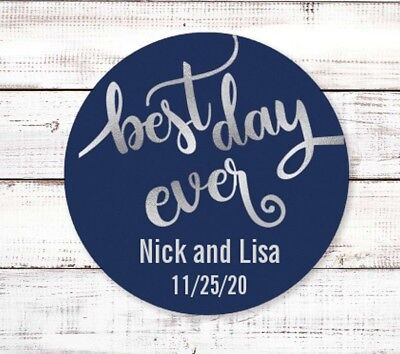 Best Day Ever Round Personalized Bridal Shower Party Sticker Labels |