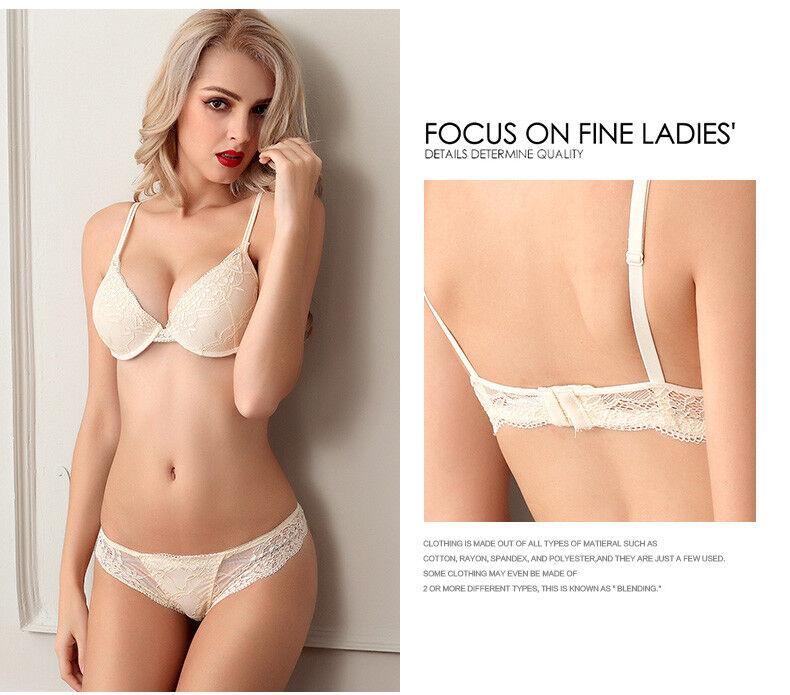 d6bcb42618 New Women Sexy Floar Lace Bra Set Thick Padded Push up Underwear   Kincker  A B C