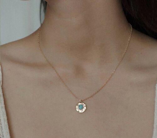 Round Circle Disc Pendant Necklace Gold Plated Turquoise or Lapis N86 Fashion Jewelry