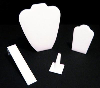 4 Piece White Leatherette Jewelry Display Presentation Or Photography Set Wl2
