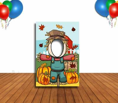 Fall Themed Parties (Scarecrow Face Cutout, Hole in Face, Party Selfie Photo Prop, Fall Themed)
