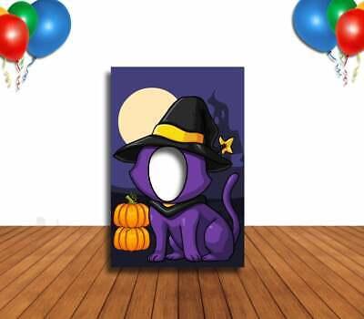 Face Cutout Photo Props (Cute Witch Cat Face Cutout, Hole in Face, Party Selfie Photo Prop, Pumpkin)