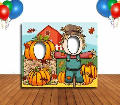 Face Cutout Photo Props (Scarecrow and Pumpkin Cutout, Hole in Face, Party Selfie Photo Prop, Fall)