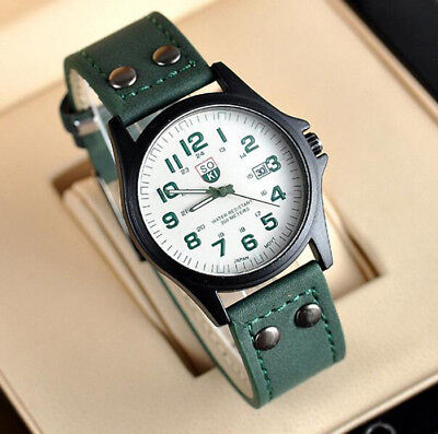 Men's Leather Band Watches 4 Colors Military Analog Quartz Date Sport WristWatch