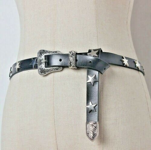 Genuine Leather Star Studded Belt Buckle Black Heavy Metal Goth Punk Rock 105cm