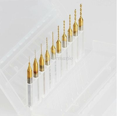 10 Titanium Nitride Coated Carbide 0.2mm-1.1mm Pcb Cnc Drill Bits Router