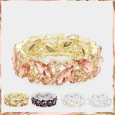 Wide Crystal Rhinestone Evening Bridal Stretch Bangle Bracelet Marquise Vine NEW