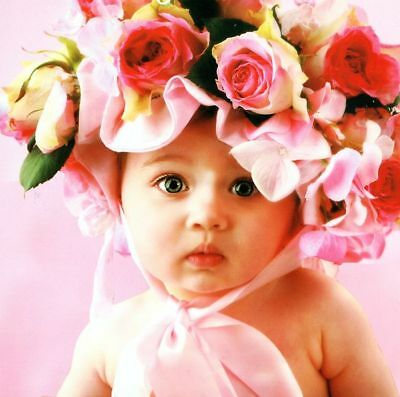 """""""BABY FACE"""" Pink Roses Bonnet Infant Child 550 Pcs BOXLESS Jigsaw Puzzle *NEW*"""