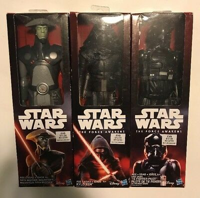 Lot Of 3 Star Wars Action Figures  Kylo Ren  Tie Fighter Pilot   Fifth Brother