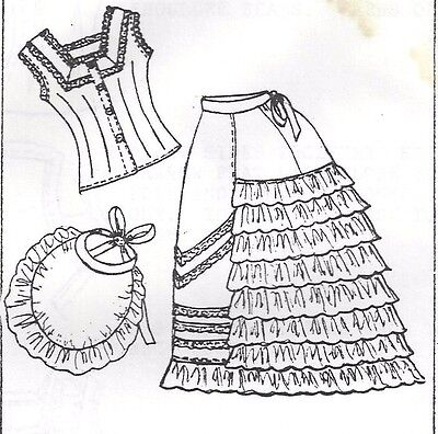 "17-26""ANTIQUE FRENCH FASHION LADY DOLL@1870's UNDERWEAR/PETTICOAT BUSTLE PATTERN"