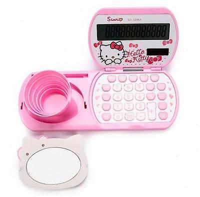 Cute Hello Kitty Kids School Office Desk Basic Electronic Calculator c/w Mirror