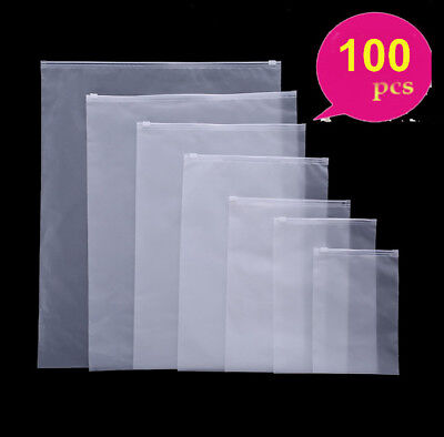 100-frosted Plastic Bag Poly Self Seal Zip Lock Bag Phone Clothing Jewelry Pouch