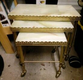 Set of 3 marble nesting tables
