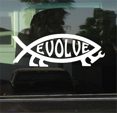 EVOLVE FISH SYMBOL VINYL DIE CUT STICKER