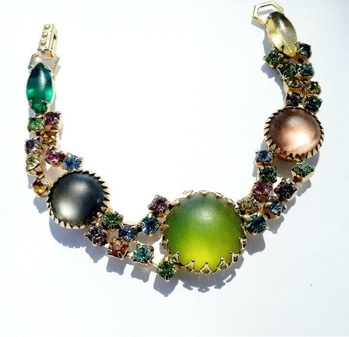 Unsigned Schreiner Bracelet SUPER RARE Asymmetrical Multicolor Cabochons