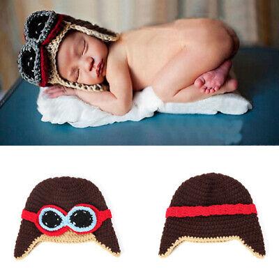 Neugeborene Baby Knit Strick Fotoshooting Pilot Kostüm Mützen Hüte