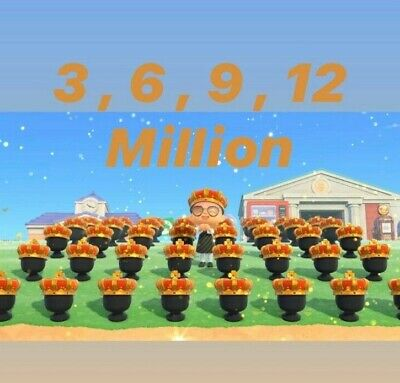 ANIMAL CROSSING NEW HORIZONS BELLS 3 6 9 12 MILLION ONE HOUR FAST DELIVERY