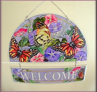 Butterflies and Flowers Hand Painted Glass Hospitality Welcome Panel by AMIA