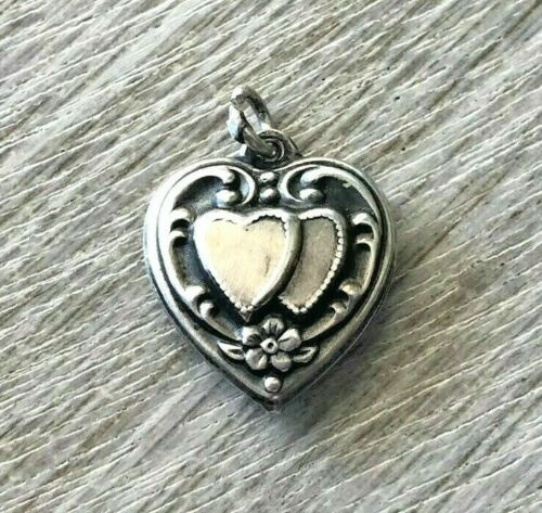 """VTG STERLING SILVER REPOUSSE SWIRLS & DOUBLE HEARTS PUFFY HEART CHARM  """"ESTHER"""""""