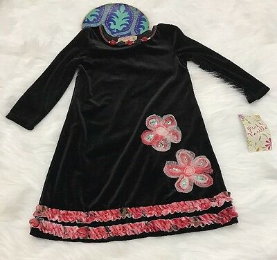Pink Vanilla Girls Sz 5 Black Velvet Pink Embellished Flowers Dress Long Sleeve