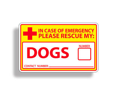 Safety Yellow Emergency Dog Rescue Sticker Glass Window Door Decal 911 Pet Alert for sale  Shipping to India