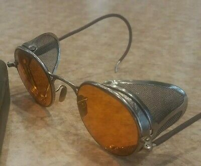 VINTAGE WWII GOGGLES MOTORCYCLE AVIATOR GLASSES WELSH MANUFACTURING USA (Sunglass Manufacturers Usa)