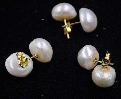 Baroque Freshwater Pearl Earrings - wholesale 1 pairs 13-14mm real freshwater Baroque pearl stud earring golden
