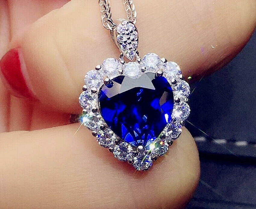 Jewellery - Heart Crystal Stone Pendant 925 Sterling Silver Chain Necklace Womens Jewellery