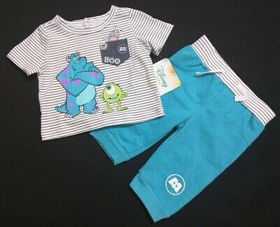 Monsters Inc Outfit (NEW DISNEY MONSTERS INC BABY OUTFIT SHORT SLEEVE TOP PANTS BOTTOM BABY)