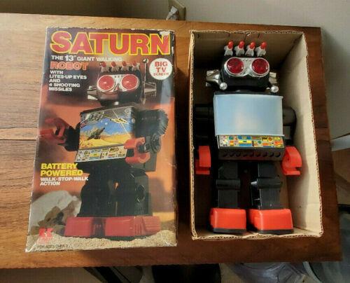 """Vintage Kamco Saturn 13"""" Giant Walking Robot Item #19801 w/Box"""
