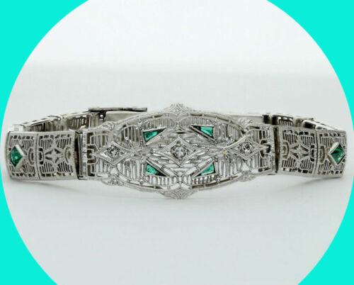 .70CT Antique style diamond emerald filigree bracelet 14K wg round fancy Estate