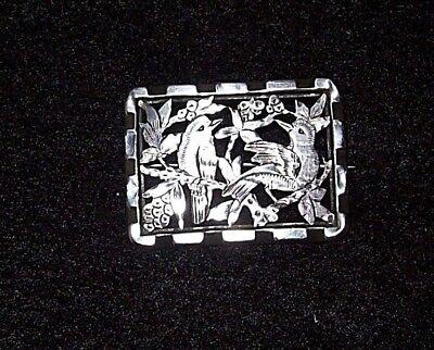 Pretty,Victorian, Silver Metal Fretwork Brooch, Birds/Trees/Blossoms Design,