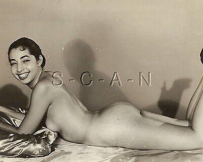 Original Vintage 1940s-60s Nude RP- Hispanic Woman- Lying on Floor- Butt- Smile