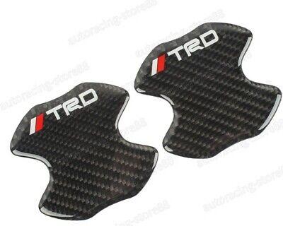 2PCS TRD Carbon Fiber Anti Scratch Badge Door Handle Bowl Cover Trim For TOYOTA