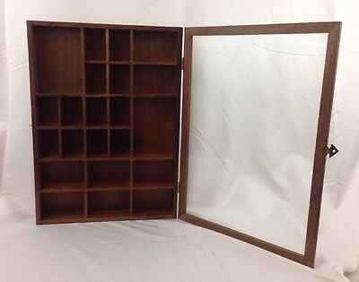 "Vintage Wood Shadow Box Display W/ Glass Door Cabinet Brass Plated 16.25""x11.75"""