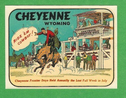 """VINTAGE ORIGINAL 1948 """"CHEYENNE WYOMING"""" FRONTIER DAYS CELEBRATION DECAL ART GEM"""