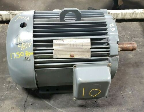 """LINCOLN 10 HP AC ELECTRIC MOTOR 460 VAC 3 PHASE 1750 RPM 1 3/8"""" SHAFT AF4P10T61"""
